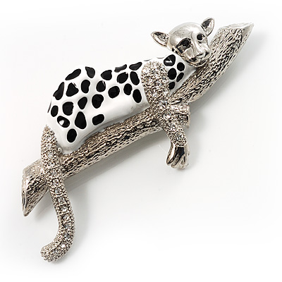 Leopard In Tree Fashion Brooch