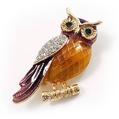 Multicoloured Crystal Owl Brooch - main view