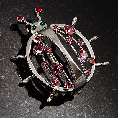 Large Crystal Lady Bug Fashion Brooch (Pink) - main view