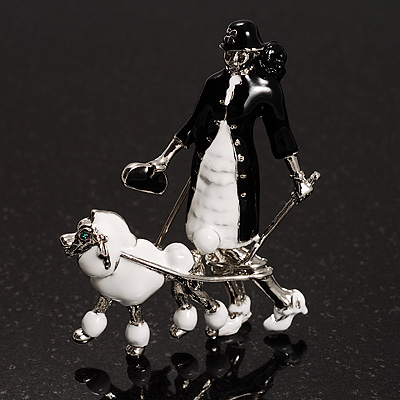 &#039;Lady &amp; Dog&#039; Enamel Fashion Brooch (Black&amp;White)