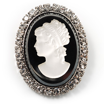 Silver Tone Crystal Glass Cameo Brooch (Black&White) - main view