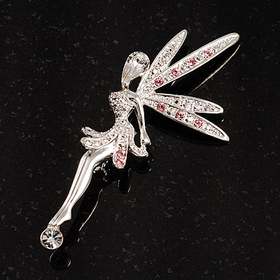 Swarovski Crystal Magic Fairy Brooch (Pink&amp;Clear)