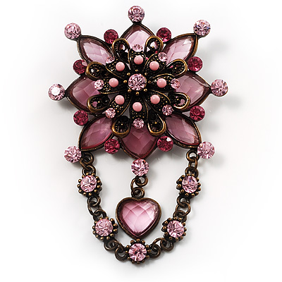 Vintage Statement Charm Brooch (Pink)