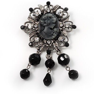 Antique Silver Black Charm Cameo Brooch