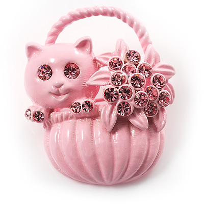 Kitten In The Basket Crystal Brooch (Pink)