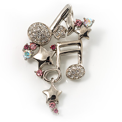 Musical Notes&amp;Stars Crystal Brooch