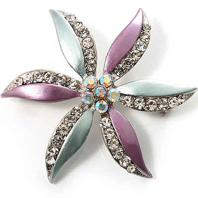 AB Crystal Flower Brooch - main view