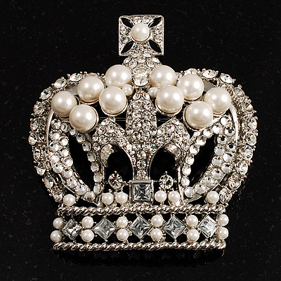 Oversized Statement Pearl And Crystal Crown Brooch