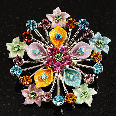 Multicoloured Glittering Diamante Floral Brooch (Silver Tone) - main view