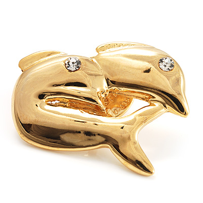 Tiny Gold Tone Crystal Dolphin Pin Brooch