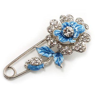 Silver Tone Crystal Rose Safety Pin Brooch (Blue)