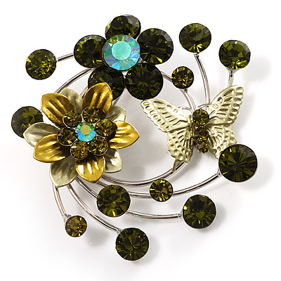 Fancy Butterfly And Flower Brooch (Olive Green)