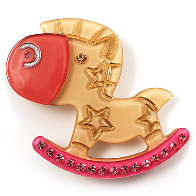 Rocking Horse Plastic Crystal Brooch (Sandy,Pale&amp;Deep Pink)