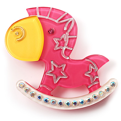 Rocking Horse Plastic Crystal Brooch (Deep Pink, Yellow& White)