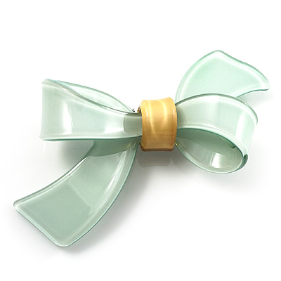 Plastic Bow Brooch (Pale Green&Bright Yellow)