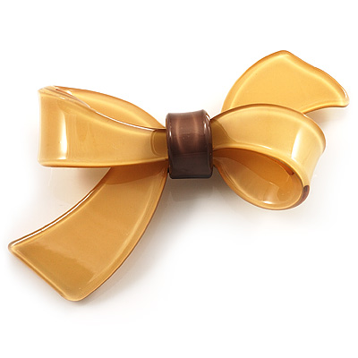 Plastic Bow Brooch (Sandy&amp;Beige)