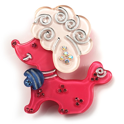 Cute Plastic &#039;Lady Poodle&#039; Brooch (Pink&amp;White)