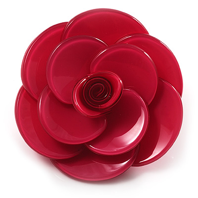 Romantic Pink Plastic Rose Brooch