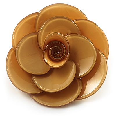 Romantic Sandy Plastic Rose Brooch