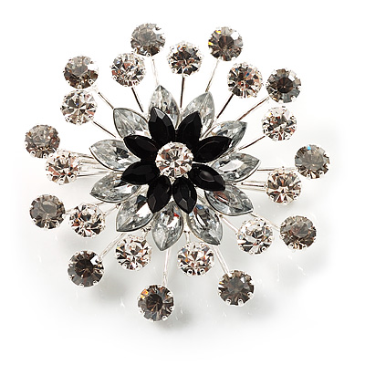 Sparkling Clear Crystal Corsage Brooch