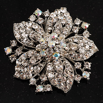 Victorian Corsage Flower Brooch (Silver &amp; Clear Crystals)