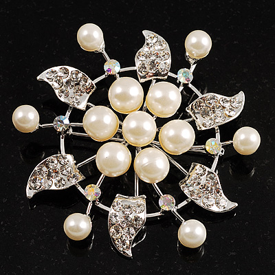 Bridal White Faux Pearl Floral Brooch