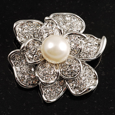 Bridal Faux Pearl Crystal Flower Brooch (Silver-Tone) - main view