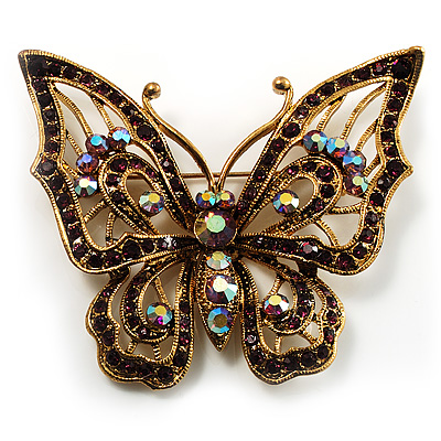 Vintage Purple Crystal Butterfly Brooch (Antique Gold)