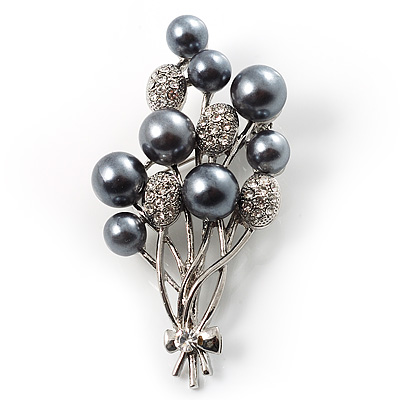 Faux Pearl Floral Brooch (Silver & Black) - main view