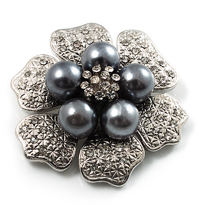 6-Petal Pearl Style Floral Brooch (Silver&amp;Dark Grey)