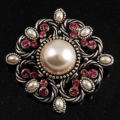 Wedding Corsage Faux Pearl Crystal Brooch (Antique Silver) - main view
