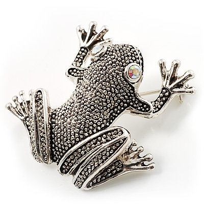 Marcasite Frog Brooch (Antique Silver Tone)