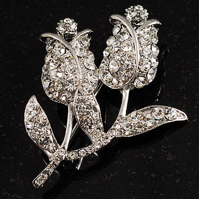 Ice-Clear Crystal Tulip Brooch (Silver Tone)