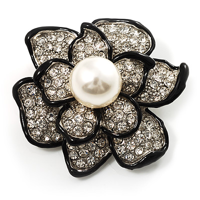 Bridal Faux Pearl Crystal Flower Brooch (Black &amp; Silver)