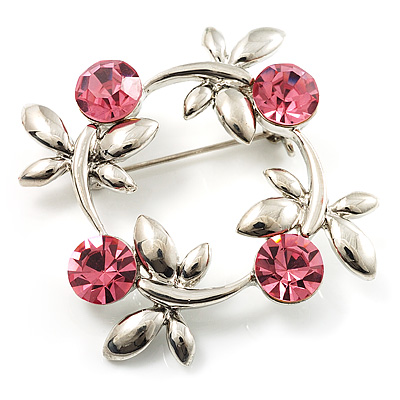 Small Butterfly Crystal Wreath Brooch (Silver&Pink)