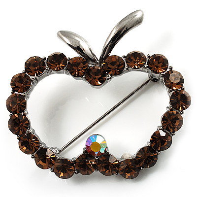 Amber Crystal Open-Apple Brooch (Silver Tone)