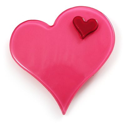 Pink Plastic 'Heart in Heart' Brooch - main view