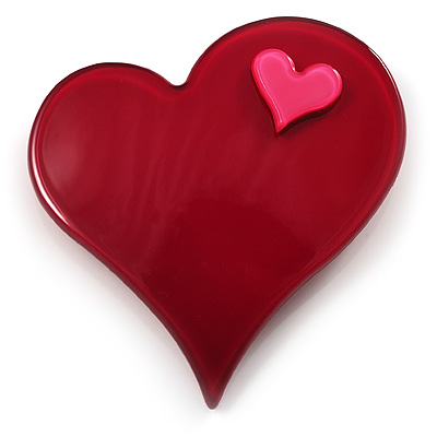 Burgundy Plastic 'Heart in Heart' Brooch - main view