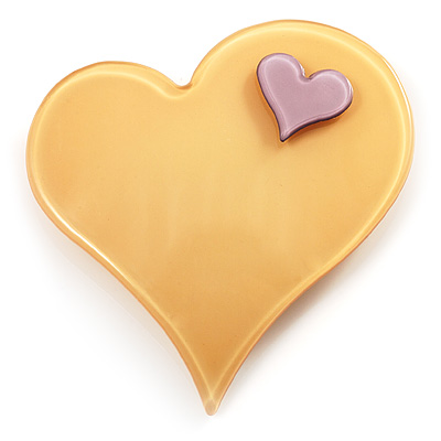 Yellow Plastic 'Heart in Heart' Brooch - main view