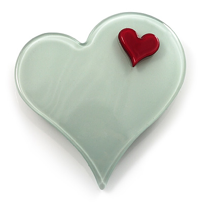 Pale Green Plastic 'Heart in Heart' Brooch - main view