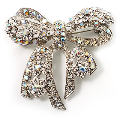 Stunning Swarovski Crystal Bow Brooch (Silver Tone)