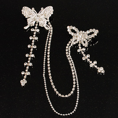 Trendy Diamante Butterfly Charm Brooch (Silver Tone)