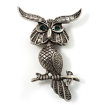 Charming Marcasite Crystal Owl Brooch - main view