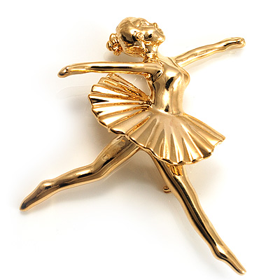 'Dancing Ballerina' Fashion Brooch (Gold Tone) - main view