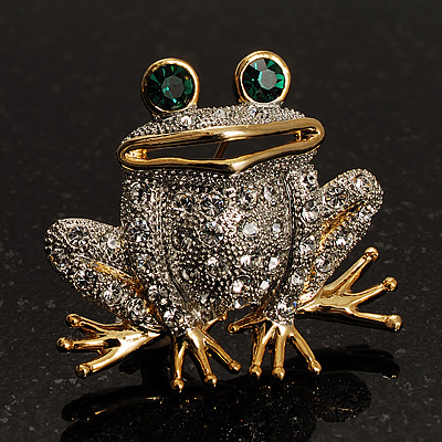 Lucky Frog With Emerald-Green Crystal Eyes Brooch (Silver&Gold Tone)