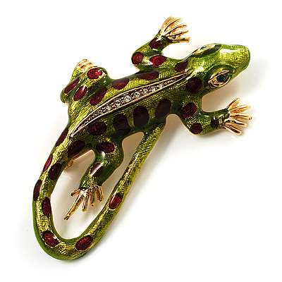 Exotic Enamel Lizard Brooch