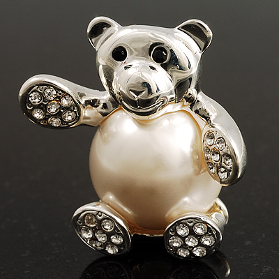 Pearl Style Teddy Bear Brooch (Silver Tone)