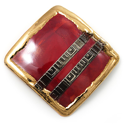 &#039;Red Square&#039; Ethnic Brooch