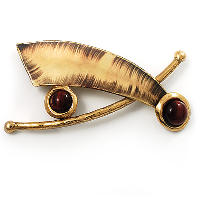 'Red Tiger's Eye Cross' Ethnic Brooch