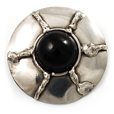 Round Stainless Steel Brooch with Black Onyx Stone